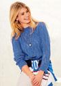 Синий пуловер с ажурным узором. Спицы