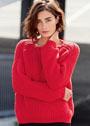Красный пуловер из полупатентной резинки. Спицы