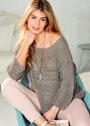 Пуловер цвета конопли с сочетанием узоров. Спицы