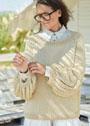 Светлый пуловер с объемными внизу рукавами. Спицы