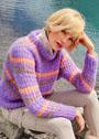 Трехцветный пуловер в резинку с дырочками. Спицы