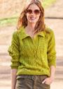 Пуловер поло с ажурным узором из кос. Спицы