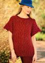 Темно-красный пуловер с косами и диагональными узорами. Спицы
