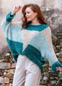 Трехцветный пуловер с геометрическими мотивами. Спицы