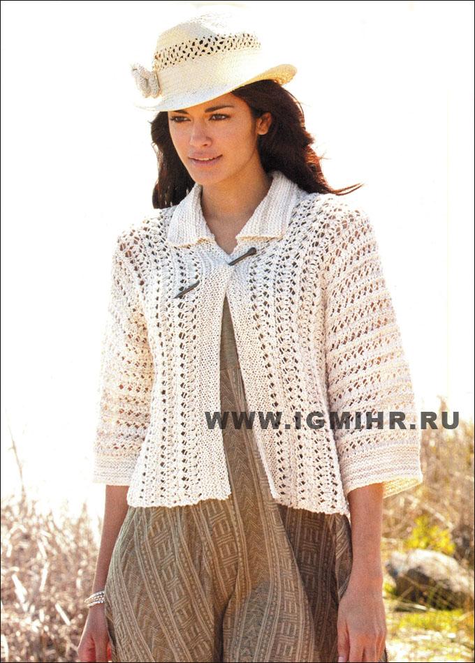 Ажурный жакет женщины вязание
