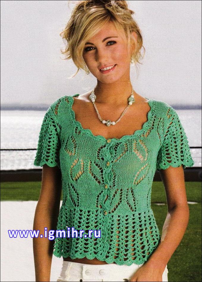Зеленая ажурная блузка с