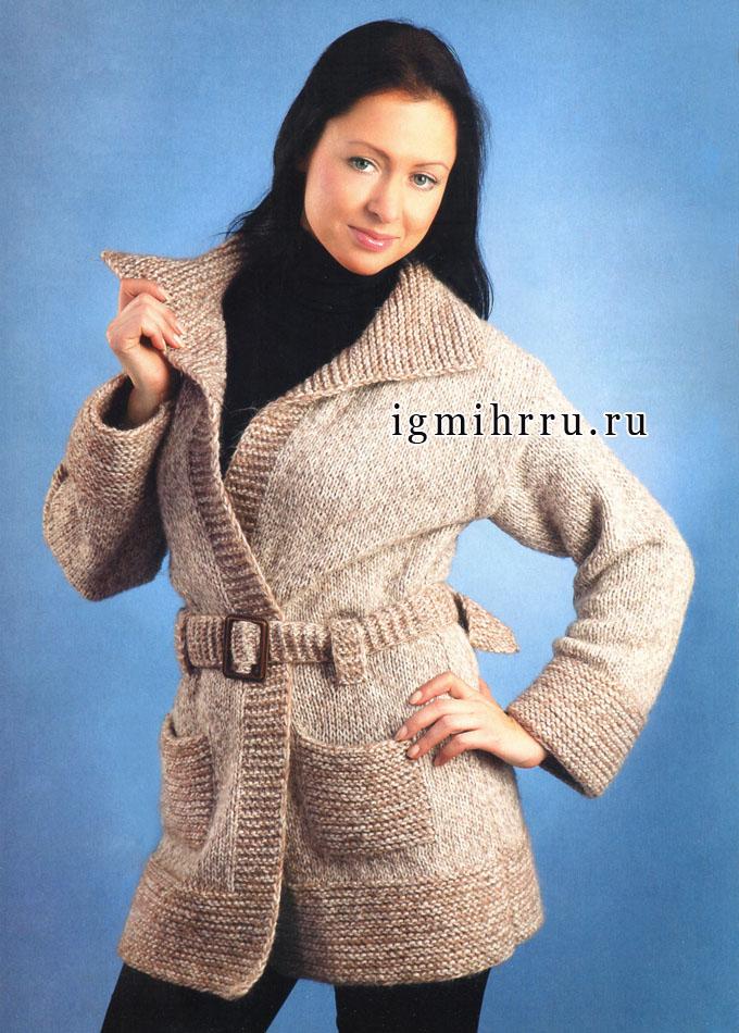 Тепло, удобно, просто! Шерстяной меланжевый кардиган с карманами и поясом. Спицы