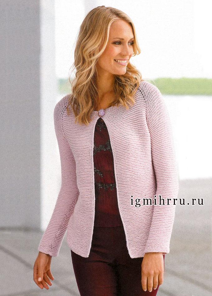 Повседневный стиль. Классический розовый жакет, связанный сверху вниз единым полотном, от финских дизайнеров. Спицы