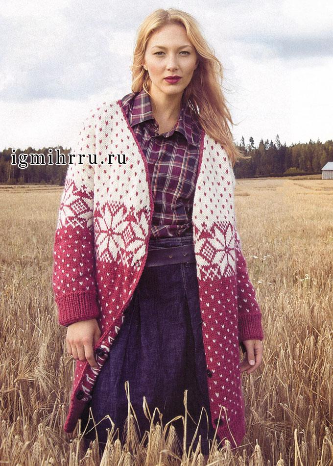 Тепло и комфортно! Удлиненный красно-белый жакет со скандинавскими орнаментами, от финских дизайнеров. Спицы