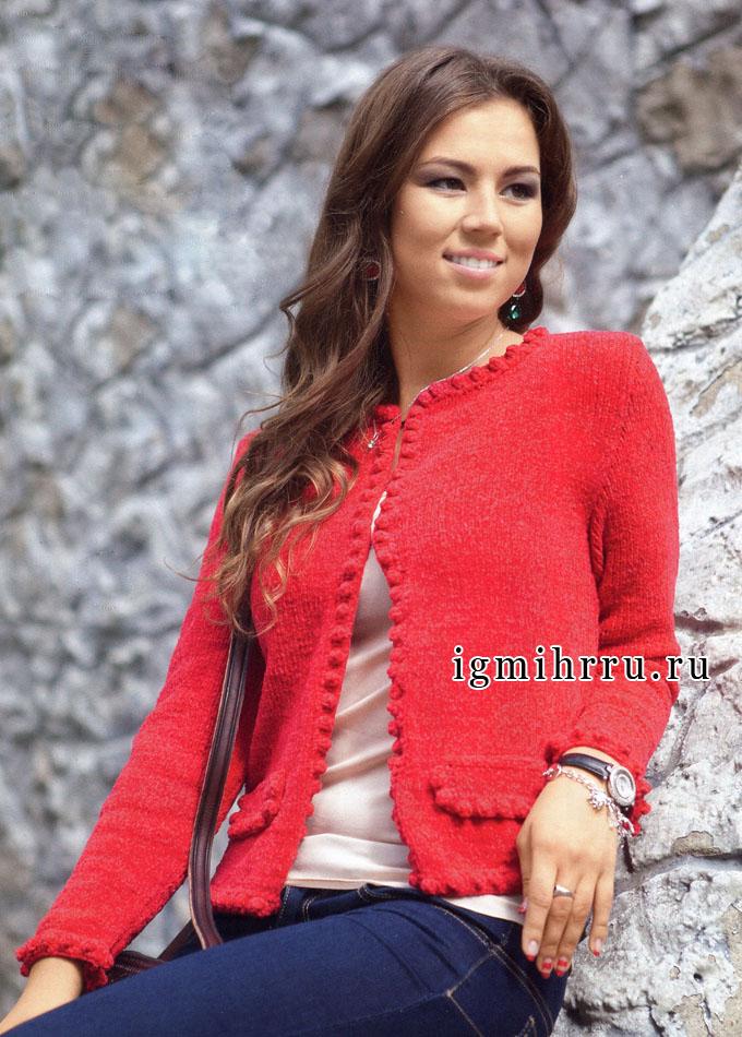 Яркий красный жакет с красивой обвязкой. Вязание спицами