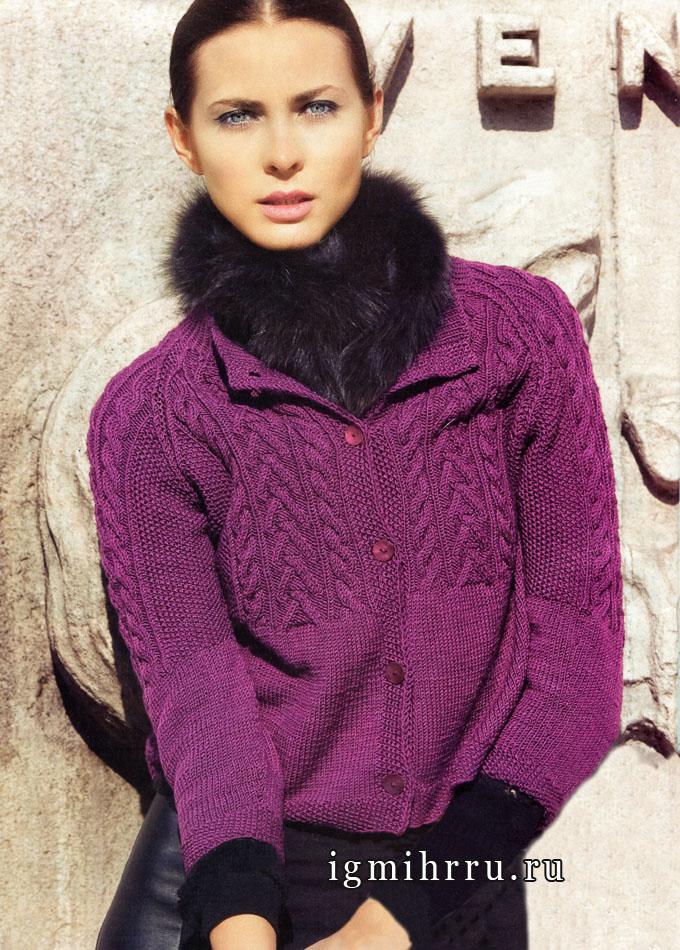 Фиолетовый шерстяной жакет с косами и жемчужным узором. Вязание спицами
