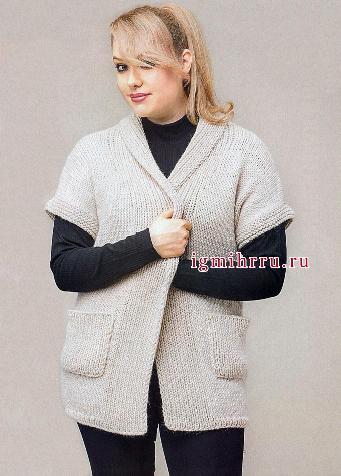 Просто, практично, уютно! Жакет кремового цвета с карманами, от финских дизайнеров. Вязание спицами
