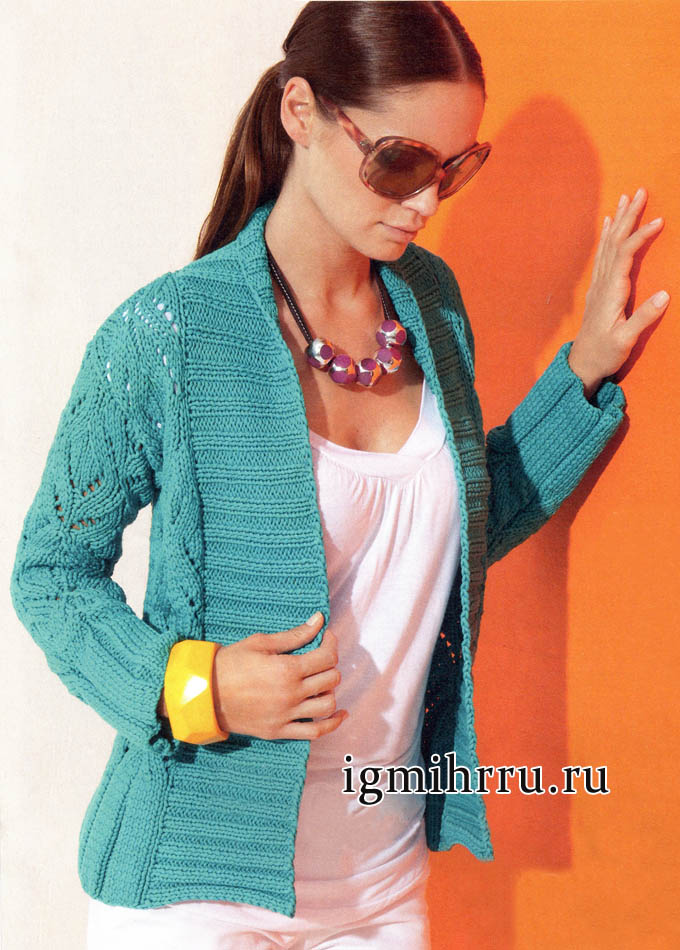 Ажурный жакет изумрудного цвета с широкими планками, от Lana Grossa. Вязание спицами