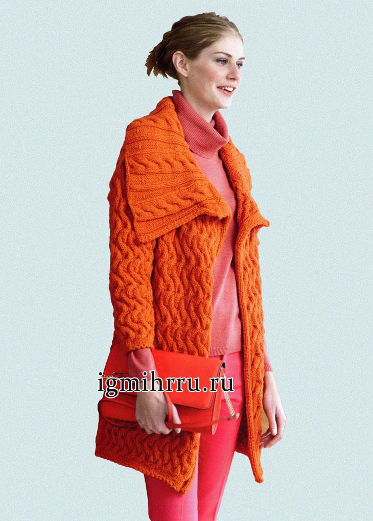 Теплый оранжевый кардиган из узоров с косами, от немецких дизайнеров. Вязание спицами
