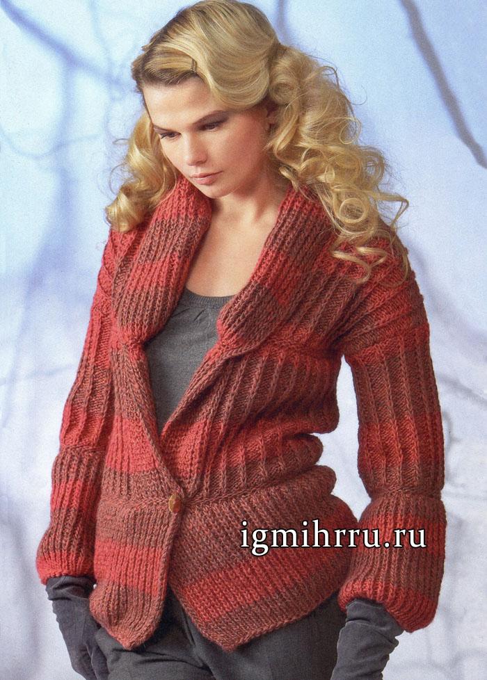 Элегантный жакет в красно-бордовой гамме. Вязание спицами