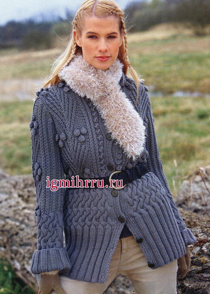 Теплый серо-синий жакет из мериносовой шерсти, с миксом красивых узоров. Вязание спицами