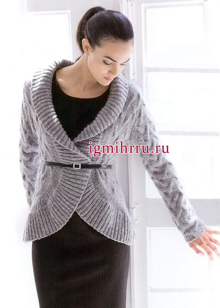 Серебристо-серый жакет с широкими закругляющимися планками. Вязание спицами