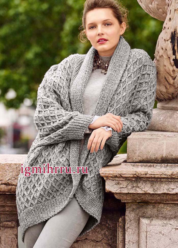 Уютный теплый жакет серого цвета, с шалевым воротником и узором из ромбов. Вязание спицами