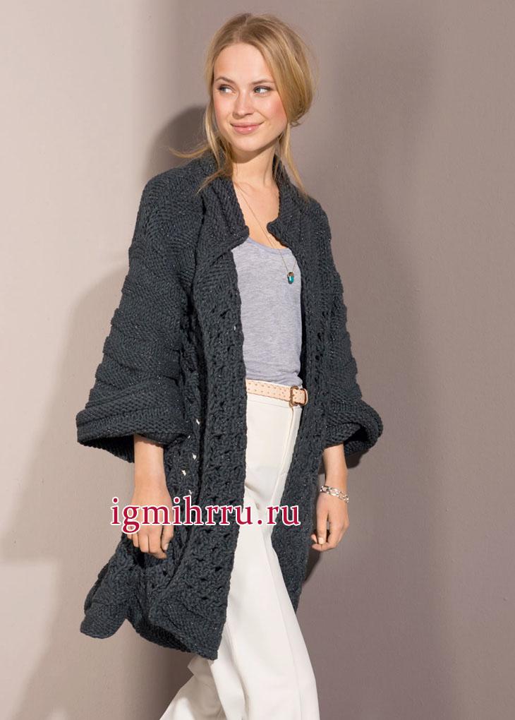 Удлиненный темно-серый жакет модного фасона oversize. Вязание спицами