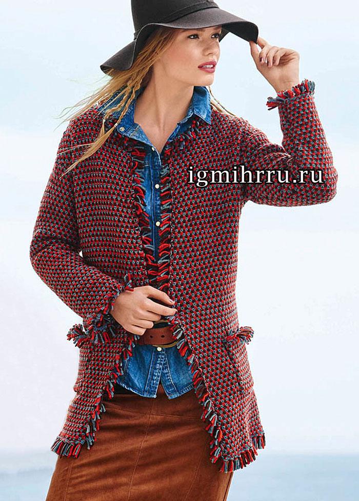 Трехцветный шерстяной жакет с карманами и отделкой бахромой. Вязание спицами