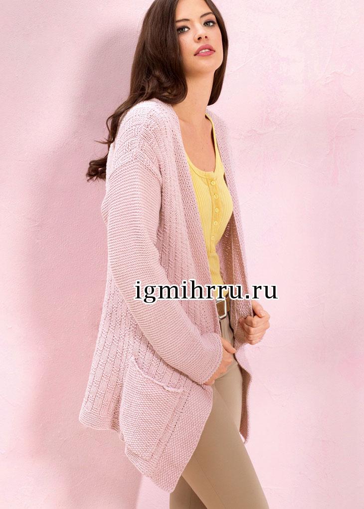 Розовый жакет с рельефным и жемчужным узорами. Вязание спицами