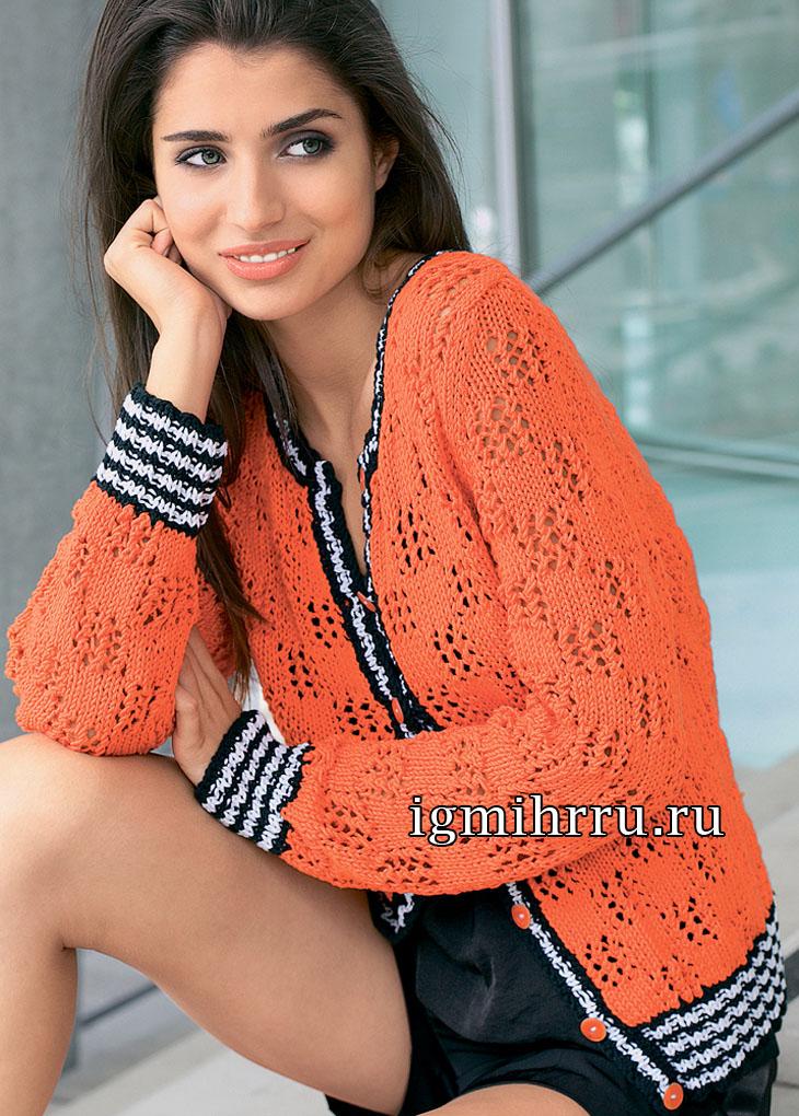 Оранжевый жакет с контрастными полосатыми планками. Вязание спицами