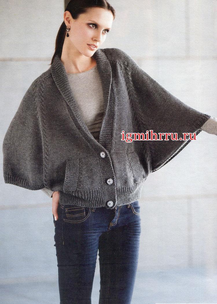 Теплый жакет серого цвета с рукавами летучая мышь и карманами. Вязание спицами