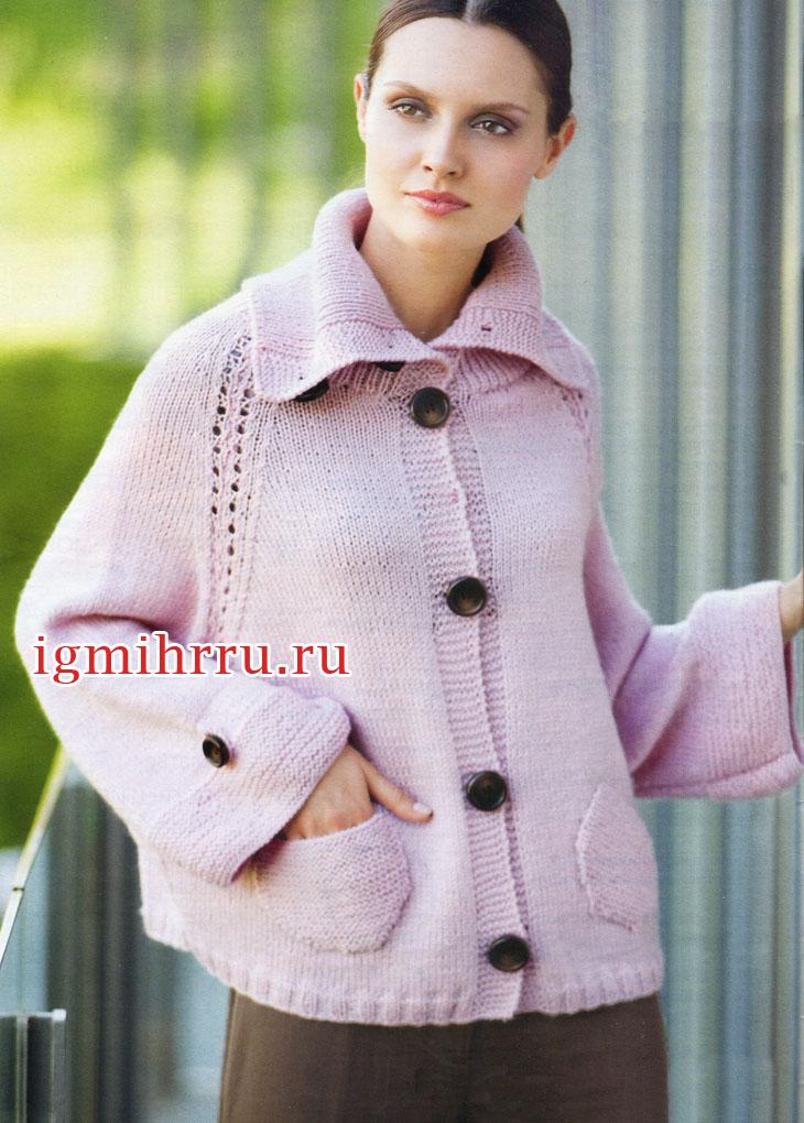 Расклешенный розовый жакет-реглан из мериносовой шерсти. Вязание спицами