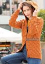 Оранжевый теплый жакет с плетеными узорами. Спицы
