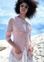 Розовый летний жакет с ажурными рукавами. Спицы