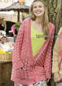 Розовый ажурный жакет с карманами. Спицы