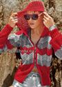 Красно-серая куртка с капюшоном и на застежке-молнии. Спицы