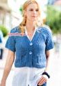 Лето в городе. Укороченный синий жакет с короткими рукавами. Спицы