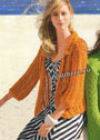 Летний сетчатый жакет оранжевого цвета. Спицы