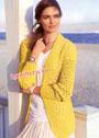 Шелковый ажурный жакет солнечного цвета. Спицы