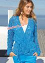 Женственный ажурный жакет голубого цвета. Спицы
