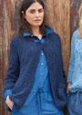 Комфортный синий жакет с накладными карманами. Спицы