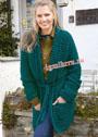 Длинный зеленый кардиган с карманами и поясом. Спицы