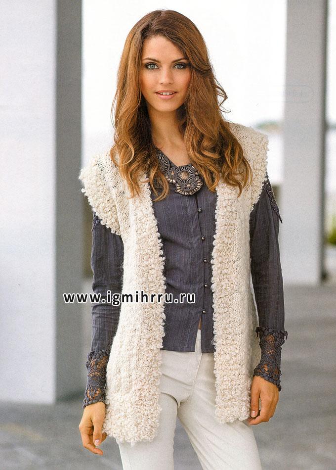 Белый жилет с вязаной меховой отделкой, от финских дизайнеров. Спицы