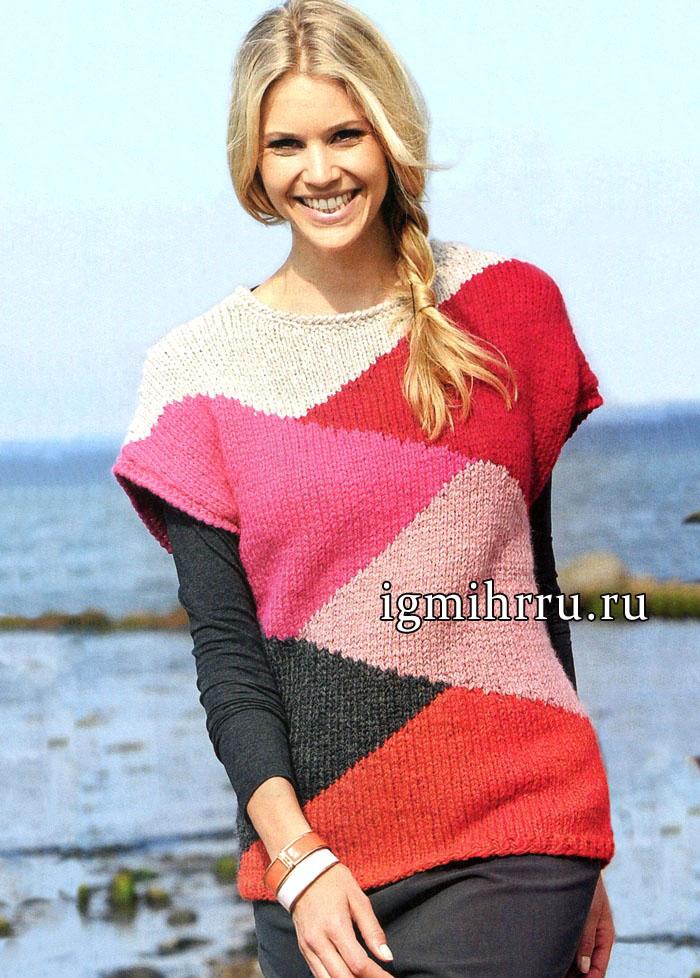 Свободный разноцветный пулундер с короткими цельновязаными рукавами, от немецких дизайнеров. Вязание спицами