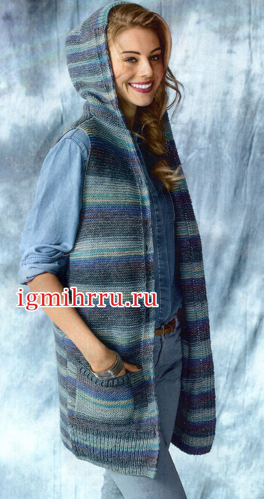эффект деграде удлиненный жилет с капюшоном и карманами вязание
