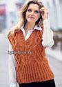 Оранжевый твидовый жилет с косами. Спицы
