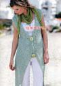 Удлиненный светло-зеленый жилет, связанный на толстых спицах. Спицы