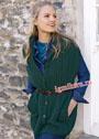 Длинный зеленый жилет с карманами. Спицы