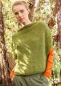 Объемный зеленый жилет-пуловер. Спицы