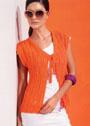 Летний оранжевый жилет с ажурными узорами. Спицы