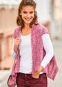 Розовый меланжевый жилет с волнистыми узорами. Спицы