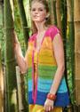 Многоцветный жилет с узкими полосами сетчатого узора. Спицы