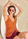 Оранжевый хлопково-льняной жилет с плетеным узором. Спицы