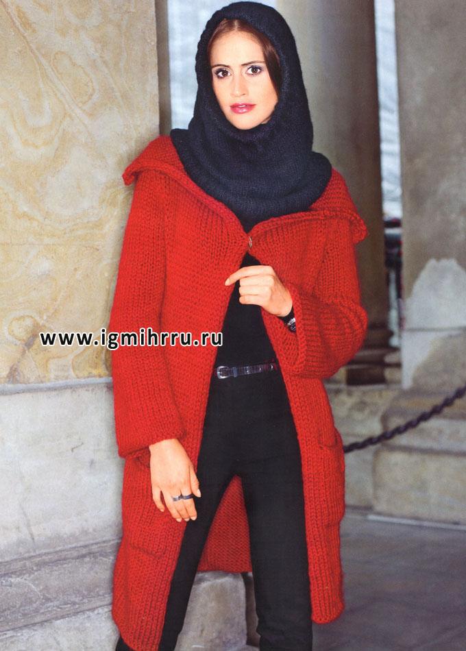 Красное пальто с карманами и черная шапочка-шлем, от Verena. Спицы